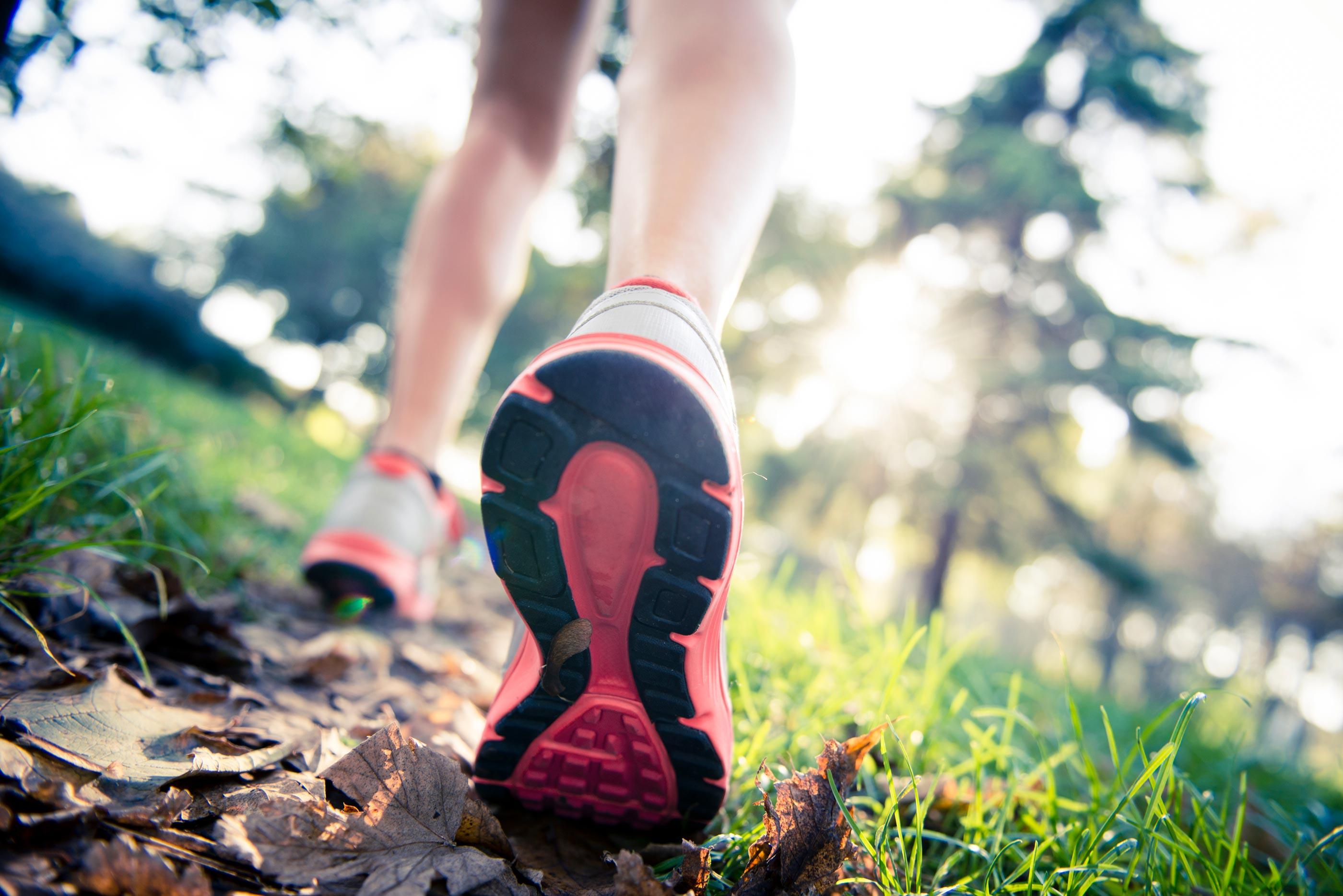 Läuferin-Park-Laub-Laufschuhe
