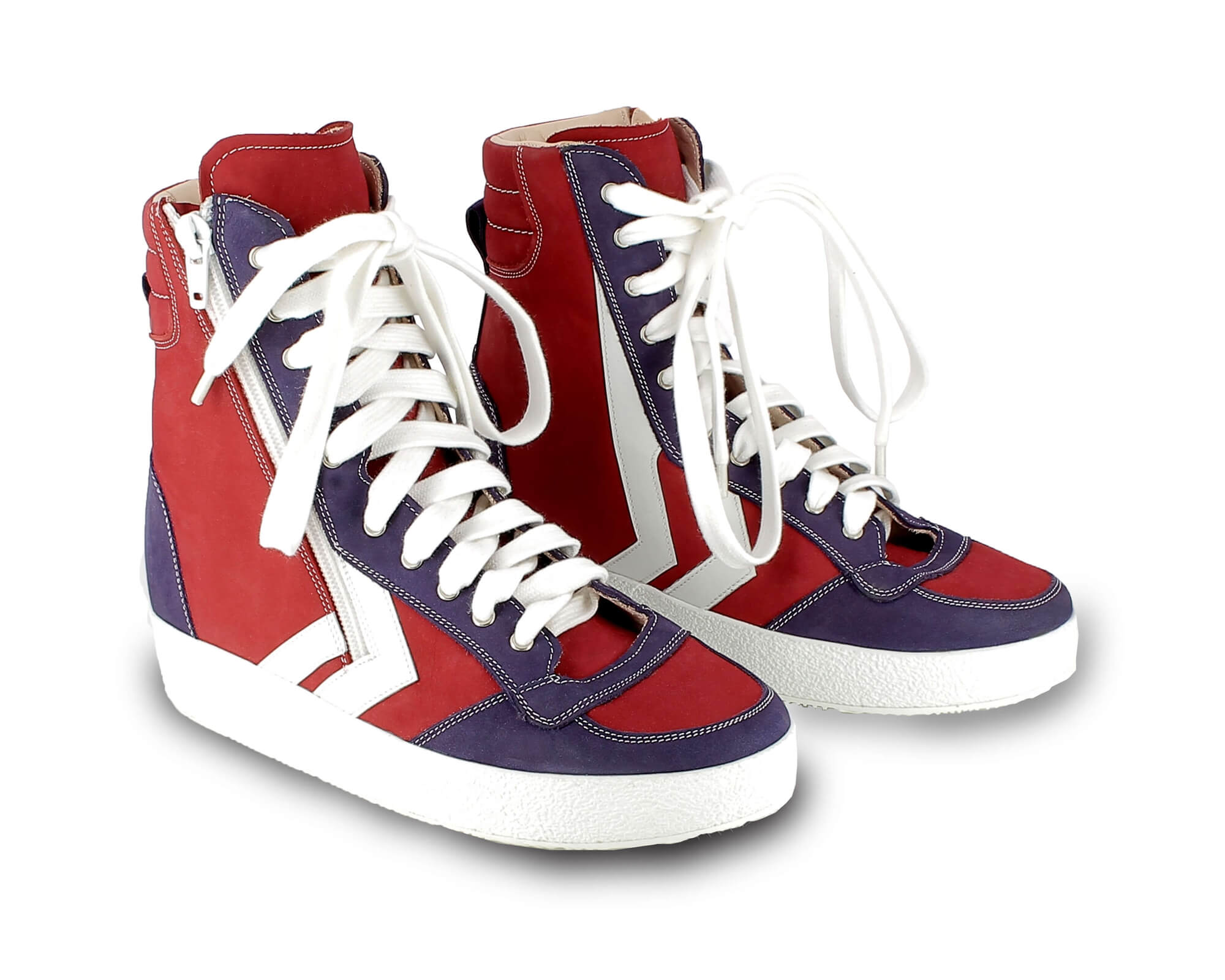 Orthopädischer-Maßschuh-Sneaker-Rot-Blau-Weiß-hoch