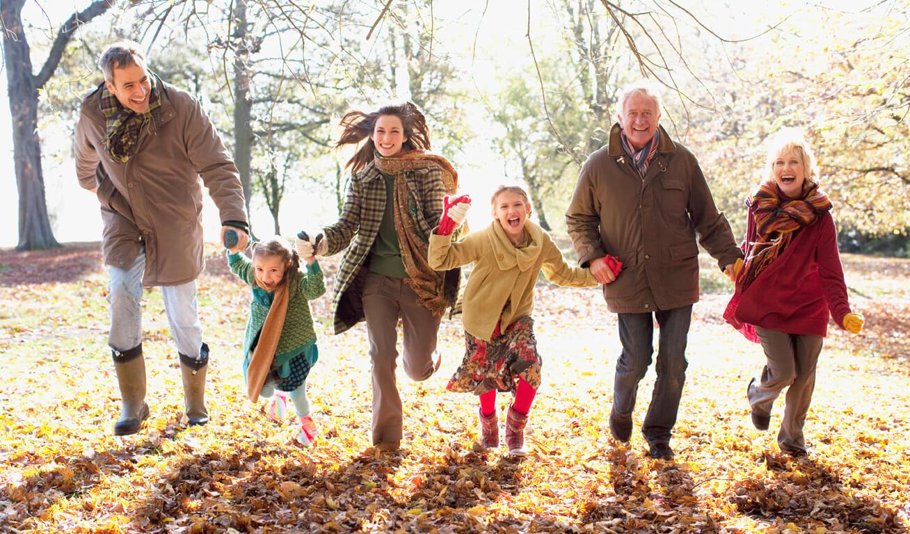 Familie-hält-sich-an-den-Händen-im-Herbst-gefallenes-Laub-Park